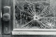 Die Scheibe war mal weniger kaputt --- The window used to be less broken (der Sekretär) Tags: detail deutschland fenster germany glas holz neustadtorla thuringia thüringen tür beschädigt broken closeup cracked defect defekt door gebrochen gesprungen glass kaputt outoforder shattered window windows wood