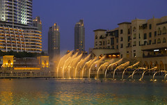 Gambol (Pawel Wietecha) Tags: fountain gambol city water reflection yellow blue green orange evening night dubai travel trip journey color light colors buildings town cityscape nightscape architecture dark landscape