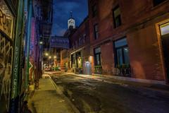 Hold Back the Dawn (Kathy Macpherson Baca) Tags: newyorkcity urban cityscape downtown world manhattan dawn bluehour planet skybridge cobblestone night freedom tower