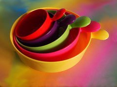 Colour Surfeit (Smiffy'37) Tags: smileonsaturday multicolora rainbow bowls plastic colourful tabletop objects stilllife