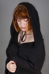 Hood (piotr_szymanek) Tags: michalina woman young face portrait studio hood redhead hand black blouse 1k 20f 50f piercing nosepiercing lipspiercing eyebrowpiercing 5k 10k