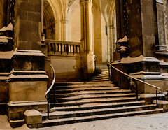 Cathedral in the snow (vpickering) Tags: stairs staircases cathedrals washingtonnationalcathedral snow nationalcathedral washingtoncathedral cathedral stair staircase