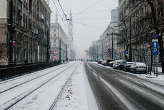 Marszałkowska Street (ewitsoe) Tags: city nikon street warszawa winter erikwitsoe erikwitsoecom poland snow urban warsaw snowing pedestrians walking cityscape wintery ice cold day light travel polska