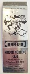 RINCON NORTENO CAFE INDIO CALIF (ussiwojima) Tags: rinconnortenocafe cafe restaurant indio california advertising matchbook matchcover
