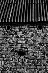 There is always someone or something watching you, one could almost get paranoid! :) (tonguedevil) Tags: outdoor outside countryside winter barn building stone roof shadows bw weardale