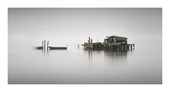 Fishing hat (Mar and mar) Tags: longexposure monochrome minimalism minimal venice italy sea seascape sky reflection ndfilter canon outdoor travel lido fishing hat art fineart