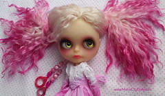 Tori (Motor City Dolly) Tags: custom ooak blythe doll translucent mohair reroot pink blonde green eyes sandra coe