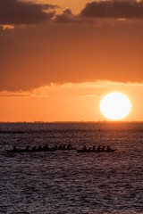 Outrigger Sunset (Fletch in HI) Tags: nikon d5600 tamron 16300 sunset sky boats sea surfers outriggercanoe people clouds water waikiki alamoana magicisland honolulu hawaii oahu hoyaredintensifierfilter ocean