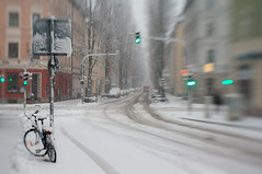 Bike in Snow (suzanne~) Tags: snow street munich germany bavaria winter maxvorstadt bike bicycle snowinthecity