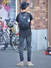 IMG_1688 (Skinny Guy Lover) Tags: outdoor people candid guy man male dude hat jeans blackjeans skinnyjeans blackskinnyjeans backpack