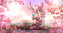 Touch of Blue Butterfly (meriluu17) Tags: butterfly fairy fawn fantasy surreal pastel ink magic magical people portrait animal reflection water sakura petals flower chase tfgc