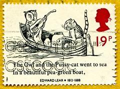 "great stamp Great Britain 19p ""The Owl and the Pussycat"" by Edward Lear (1812-1888, children's book illustration, Illustration Kinderbuch ""Die Eule und die Katze"") stamp GB UK United Kingdom postage stamps poste-timbres Grande-Bretagne sellos Gran Bretagn (stampolina, thx for sending stamps! :)) Tags: england unitedkingdom uk greatbritain grossbritannien postage stamps postetimbres sellos selos briefmarken porto franco francobolli timbres postzegel granbretagna granbretaña postes selodecorreio sellodecorreo frimaerke antspaudai frimerker znaczki znamk pulları แสตมป์ markas postestimbres english british eule owl cat katze illustration boat boot childrensbook edwardlear poetry lyric litaratur kinderbuch hibou 猫头鹰 coruja филин búho 梟 猫 gato кот kot chat"