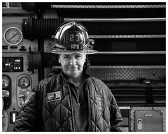 John - Stranger 28/100 (AEChown) Tags: firefighter fdny newyorkcity nyc stranger 100strangers monochrome mono blackandwhite portrait