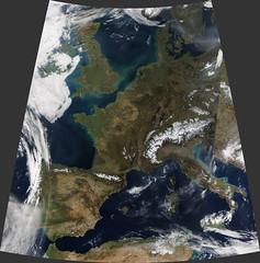 Mostly Cloud-Free Europe, Day (sjrankin) Tags: 3march2019 edited nasa europe clouds modis atlanticocean mediterraneansea weather
