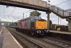 ROG Class 37 37800 races through Stowmarket, returning to Norwich from Claydon Loop, Suffolk. 01 02 2019 (pnb511) Tags: electric overhead cable ohc catenary traction loco locomotive diesel engine class37 trains railway ipswich greateasternmainline geml track station platform footbridge