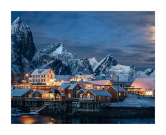 Moonlit Sakrisoy II (W.Utsch) Tags: landscape night moonlit vollmond fullmoon lofoten norway norwegen color landschaft sony winter snow mountains blue cold warm