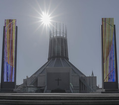 Liverpool Metropolitan Cathedral (iammattdoran) Tags: portland stone aluminium cathedral church circular modernist modern liverpool dome christ archbishop sun colour steps metropolitan cross listed building grade catholic holy religious roman