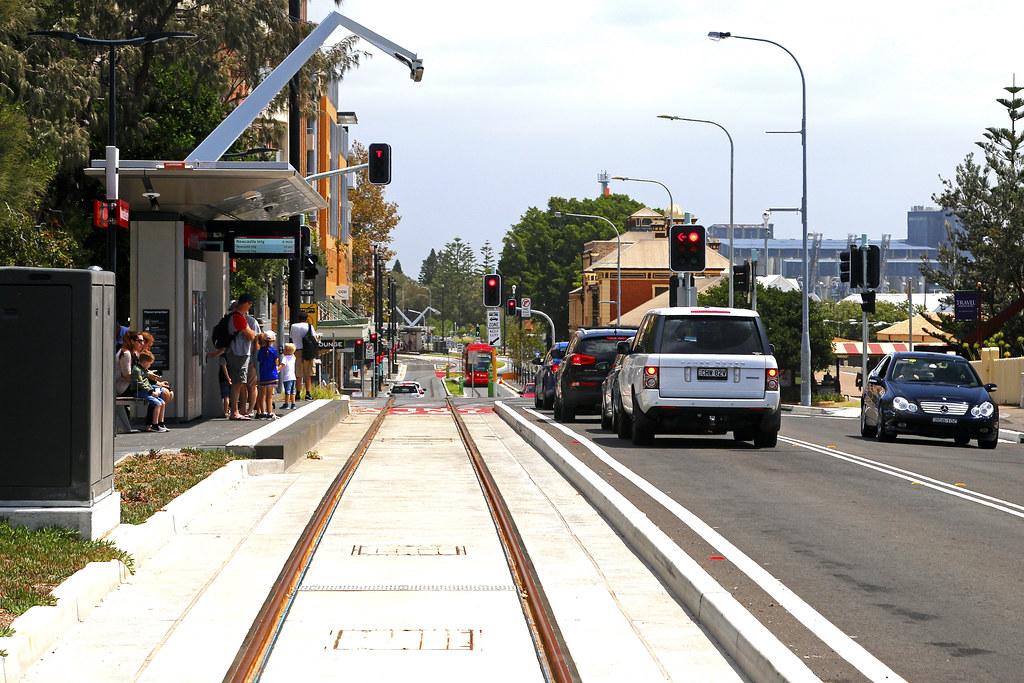 Newcastle light rail approaches Newcastle Beach terminus