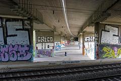 Unter der Brücke | Under the bridge (MLopht | Dortmund) Tags: hagen herbeck hagenherbeck gleise a46 autobahn autobahnbrücke brückenpfeiler fahrradfahrer fahrrad fahrradweg sonyalpha6300 alpha6300 ilce6300 sony alpha 6300 sigma 30mm streetfotografie streetphotography graffiti