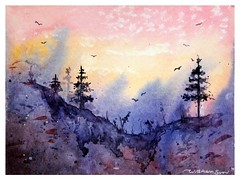 🌸🔆 Purple view 🔆🌸  Original watercolour painting. Check out this great piece of art by Svetlana Wittmann @SaatchiArt https://www.saatchiart.com/art/Painting-Purple-view-Original-watercolour-pa (wittmannsvetlana) Tags: painting morning purple nature sunrise landscape watercolour watercolor art