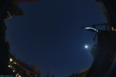 The stars and the moon. (PhotoTJH) Tags: phototjh phototjhnl fisheye 8mm westzaan netherlands westzaannoord nightphotography nachtfotografie night nacht sky hemel sterren stars maan moon dark donker tuin backyard