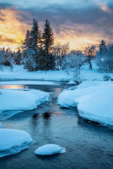 Winter Sunset (Lars Øverbø) Tags: norge norway sjusjøen winter snow ice cold frost water river tree trees sunset evening sky canoneos5dmarkiv canon24105f4lis