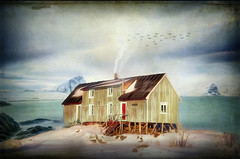 On The Ocean (jarr1520) Tags: winter sky cloud mountains snow sea ocean composite textures water cold house smoke rocks
