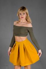 Yellow skirt (piotr_szymanek) Tags: ania aniaz woman young skinny face portrait studio eyesoncamera yellow skirt green blouse blonde 1k 20f 5k 50f 10k