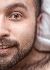 Good Morning World (zeon7) Tags: selfportrait autoportrait me self smile man beard hairy bear cub eyes ear pillow white morning daylight sunlight