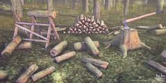 Sari-Sari - Firewood (AbbyAnne / Sari-Sari) Tags: sarisari original mesh deco firewood wood logs outdoor sawbuck stack axe stump chop forest pile soiree january