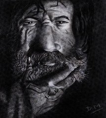 Contemplate (Debmalya Mukherjee) Tags: debmalyamukherjee pencil sketch old man blackandwhite beard