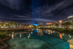 Disney Springs at night (B-Martin Photography) Tags: water clouds hdr landscape disneyphotography wdw nightphotography longexposure disneysprings