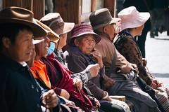 Lhasa (Mathijs Buijs) Tags: tibetan tibet elderly people sitting hats lhasa square street barkhor asia canon eos 7d
