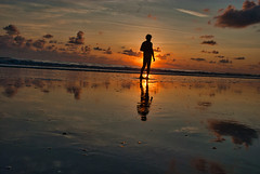 Summer Sunrise (The Vintage Lens) Tags: nude sunrise male beach water ocean clouds golden nale man silouttee