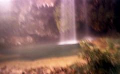 Cascade de Salles-la-Source, Aveyron, France. (matériel brouilleur) Tags: diana pinhole stenope 35mm expiredfilm lomography lomo tungsten cascade waterfall salleslasource aveyron estenopeica