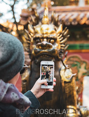 Photographing a dragon (Denis Roschlau Photography) Tags: photographing smartphone iphone photo dragon statue peking verbotenestadt forbiddencity beijing golden landmark monument tourism portrait