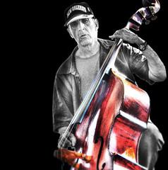 Turn Up the Bass ... A Stand-Up Guy .... (daystar297) Tags: portrait musician music bass standupbass acousticbass instrument jazz blues nikon maniputlation photoshop bnw