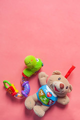 Vertical photo of child rattles with copy space on the top. Bear and snake toys for newborn kids on the pink background. Copy space. (wuestenigel) Tags: view copyspace bright color soft cute baby toys vertical snake toy cotton background text animal babies handmade above bear child beautiful homemade craft pink rattle design newborn isolated textile made childhood spielzeug noperson keineperson christmas weihnachten kind fun spas funny lustig winter farbe easter ostern celebration feier süs doll puppe traditional traditionell little wenig stilllife stillleben desktop decoration dekoration handgemacht love liebe nature natur 2019 2020 2021 2022 2023 2024 2025