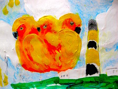 Waiting For Arrivals (giveawayboy) Tags: ballpoint pen pencil crayon eraser erasure water paint acrylic painting drawing sketch art fch tampa artist giveawayboy billrogers lighthouse parrot sunconure conure island shore ocean sky clouds