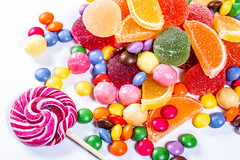 Colorful candies, jelly and marmalade on white background. Top view (wuestenigel) Tags: hard sugar color different bonbon background orange red mix delicious candy assortment heart yellow white jelly group lolly macaroons confection closeup lollypop blue food holiday texture birthday dessert marmalade colorful sweet dark lollipop lollipops top candies cookies green many fruit confectionery childhood