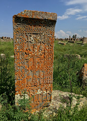 Khachkar at Noratus Cemetery (cowyeow) Tags: lakesevan armenia caucuses sevan travel composition culture design old cemetery carving cross crosses faith christianity orthodoxchristianity noratus noratuscemetery tombstone beautiful mountain view landscape sevenavank monastery ancient khachkar khachkars