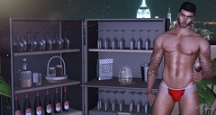 I Invite You To a Drink (Bryan Trend) Tags: head lelutka guy body belleza jake hair stealthic identity shop tattoo gacha thirst briefs 220ml signature gianni glasses bottle decor merak cabinet belle event refuge light men male sl second life new post blog secondlife gay