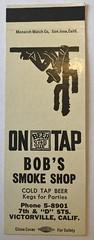 BOB'S SMOKE SHOP VICTORVILLE CALIF (2) (ussiwojima) Tags: bobssmokeshop smokeshop bar victorville california advertising matchbook matchcover