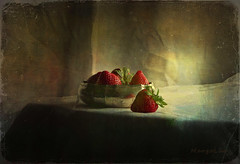 Still Life with Strawberries ... (MargoLuc) Tags: strawberries red fruits natural light window silver bowl table vintage style painting texture skeletalmess lenabem