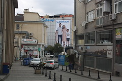 Uskudar District Street Scene (lazy south's travels) Tags: turkey turkish istanbul road street scene back advert advertisement family woman dress urban asian side building architecture