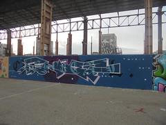 369 (en-ri) Tags: swame boc bocs crew wubik 50 bianco arrow blu bans rosa torino wall muro graffiti writing parco dora