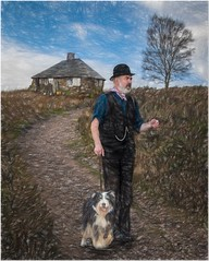 Walking the dog (Hugh Stanton) Tags: cottage hill
