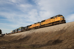 Q155 on the Fill (travisnewman100) Tags: csx train railroad freight intermodal container q155 wa subdivision atlanta division emd sd70m union pacific up ge c408w yn3b