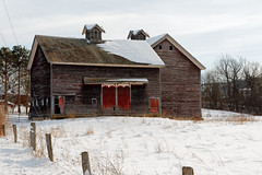 Roadside Barn (fotofish64) Tags: barn oldbarn reddoor door farm rural agriculture ruraldecay snow winter winterlandscape white roof building architecture rustic country cupola outdoor pentax pentaxart kmount k70 hdpentaxda1685mmlens woodenstructure