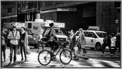 Speed in NYC (ASTPic) Tags: newyork noiretblanc new york nyc street astpic crowds people baggage travel move stream rue ruedenewyork dynamisme dynamik dynamics flow zweirad personen